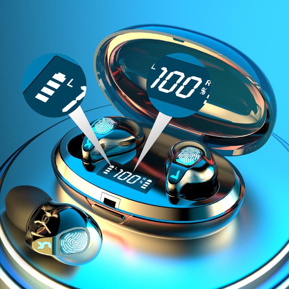 Auriculares inalámbricos Bluetooth con micrófono, Auriculares deportivos a prueba de agua, estéreo HIFI, auriculares con cancelación de ruido, auriculares con pantalla LED