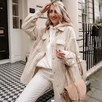 ZXQJ – chemise à carreaux Vintage en Tweed pour femmes, surdimensionnée, Chic, Streetwear, ample, élégante, collection printemps-automne, 2021