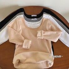 Winter Korean Style U Neck Base Shirt Female Plus Velvet Thickened Warm Coat 2020 New Style Western