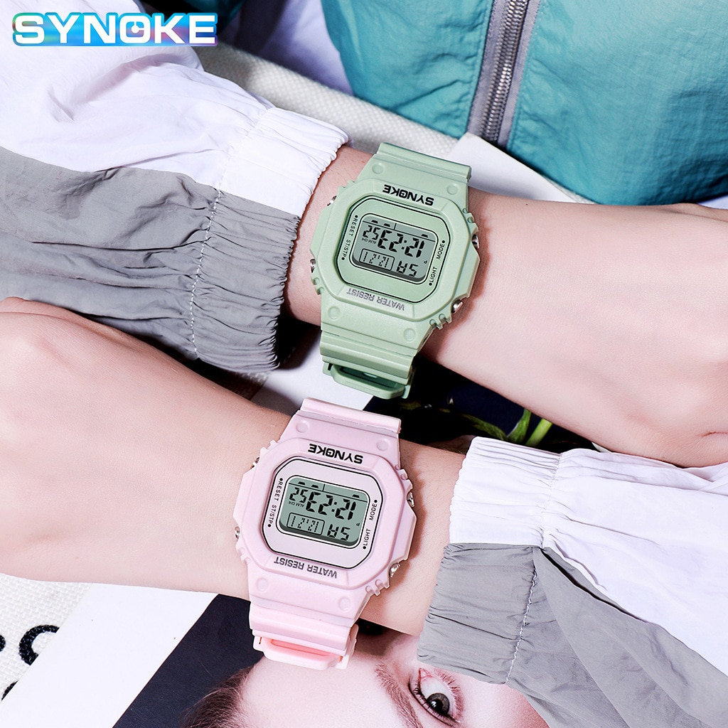 SYNOKE Tomato Men and Women Couple Couple Watch Male INS College Style Casual Students Sports Electronic Digital Watch