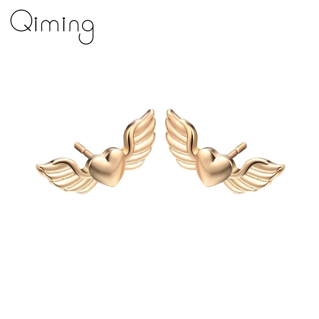 Pendientes de corazón de ala de Ángel para mujer, joyería de novia para boda, Mini amor, pendiente de tuerca, regalo para amantes, regalo Simple de moda