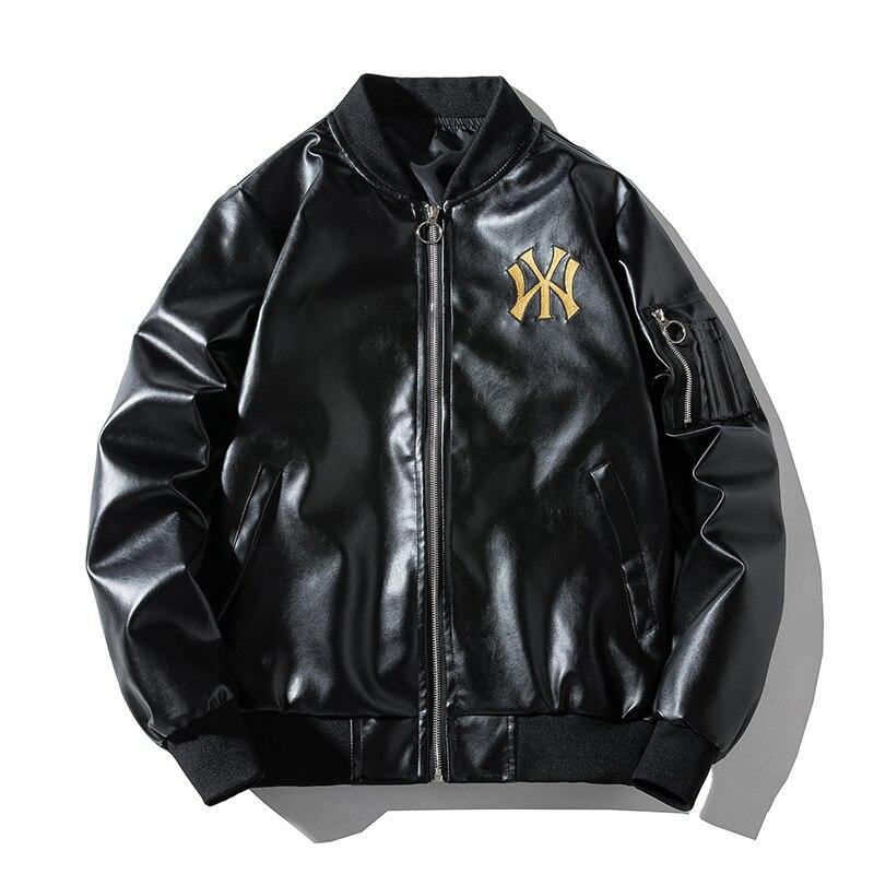 جاكيت رجالي منفوخ الدراجة النارية جاكيت جلد فاكسو مطرز بياقة ثابتة ملابس خارجية سترة واقية veste homme موضة خريف 2020