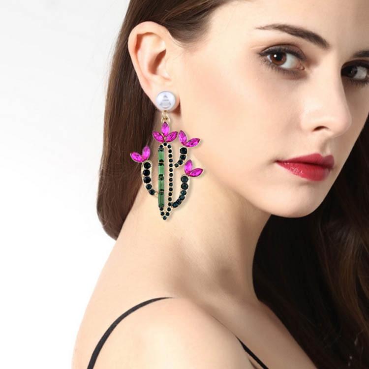 Personality Cactus Shape Plant Stud Earrings Girls Vintage Sweet Temperament Pearl Metal Resin Earrings For Women