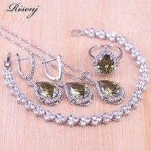 Risenj romantique style espagnol vert Olive grande poire Zircon couleur argent ensemble de bijoux fantaisie Bracelet anneau boucles doreilles collier ensemble