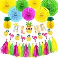 hawaiian party decorations flamingo garlands balloons for aloha luau party beach summer tropical birthday decoration supplies