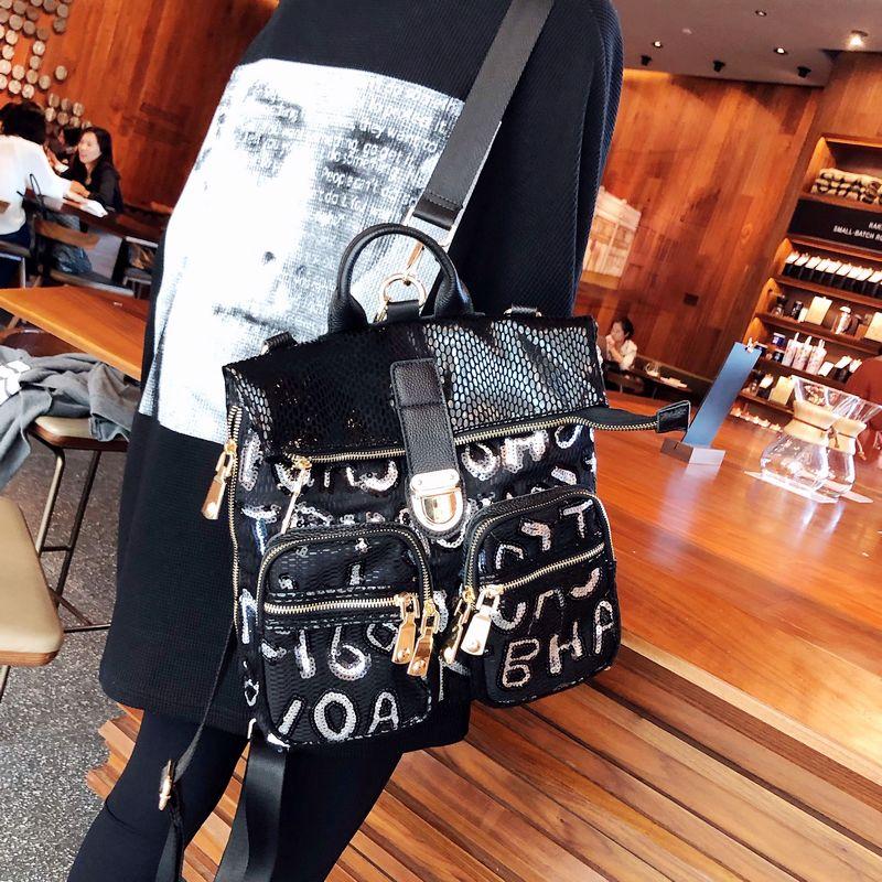 Luxury Sequined Women's Backpack Quality Man Made Leather Shoulder Bag Multi-pocket Designer Mochila Small Rucksack