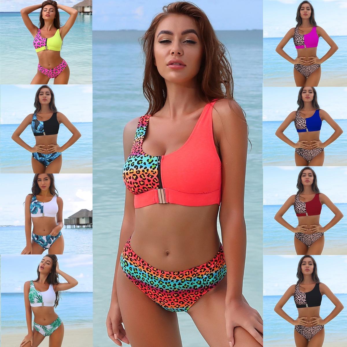 Sexy Bikini Set Leopard Swimwear Zipper Split Swimsuit Swimming Beach Suit Bandeau Push Up Biquini 2021 Patchwork Buckle