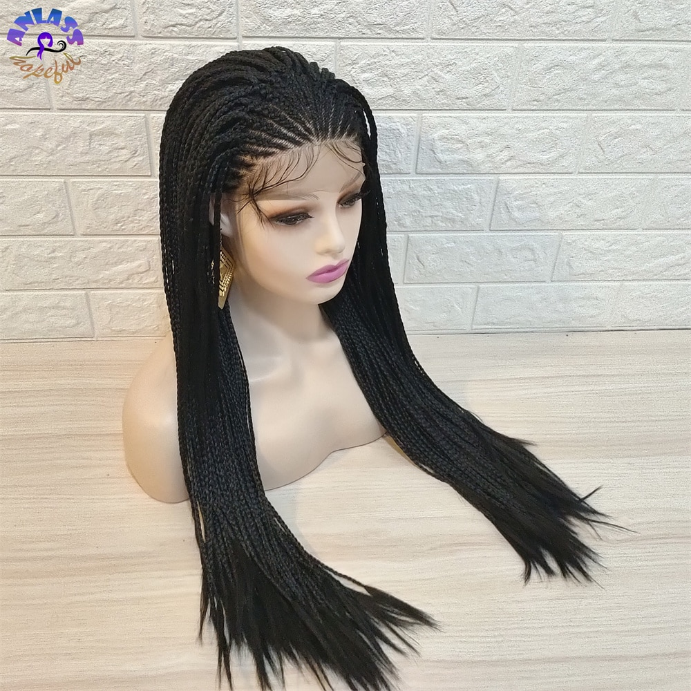Black Color  Box Braids wig  African braids  Braided  Lace Front Wig For Black Women Synthetic Heat Resistant Fiber enlarge