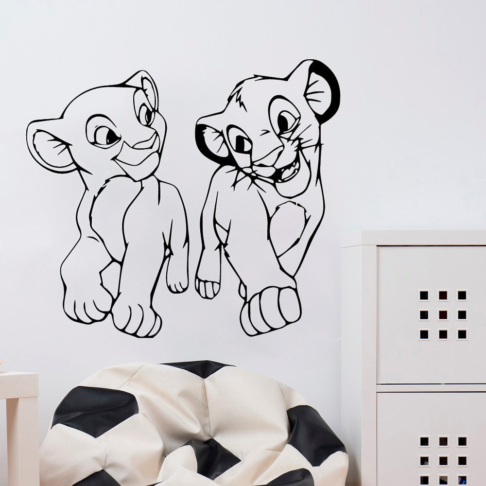 Hdjwu bonito simba leão rei removível decalque da parede para o quarto de vinil adesivo arte da parede para o quarto das crianças hd045