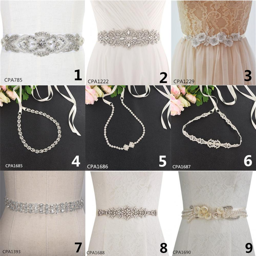 Accesorios de vestido de novia 2019 elegante cinturón de diamantes de imitación cristal cinturón de novia para fiesta de boda Cinturon Flores boda cinturón de piedra