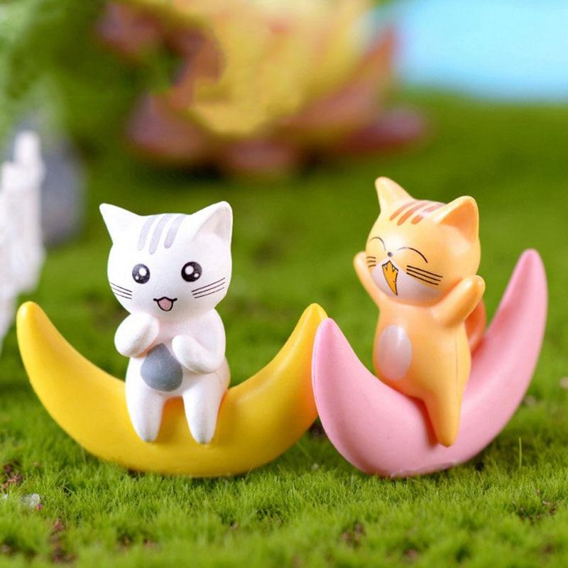 1 pieza de dibujos animados gato Luna MODELO DE Hypnosis estatua pequeña estatuilla de coche artesanías figura para el jardín ornamentos miniaturas