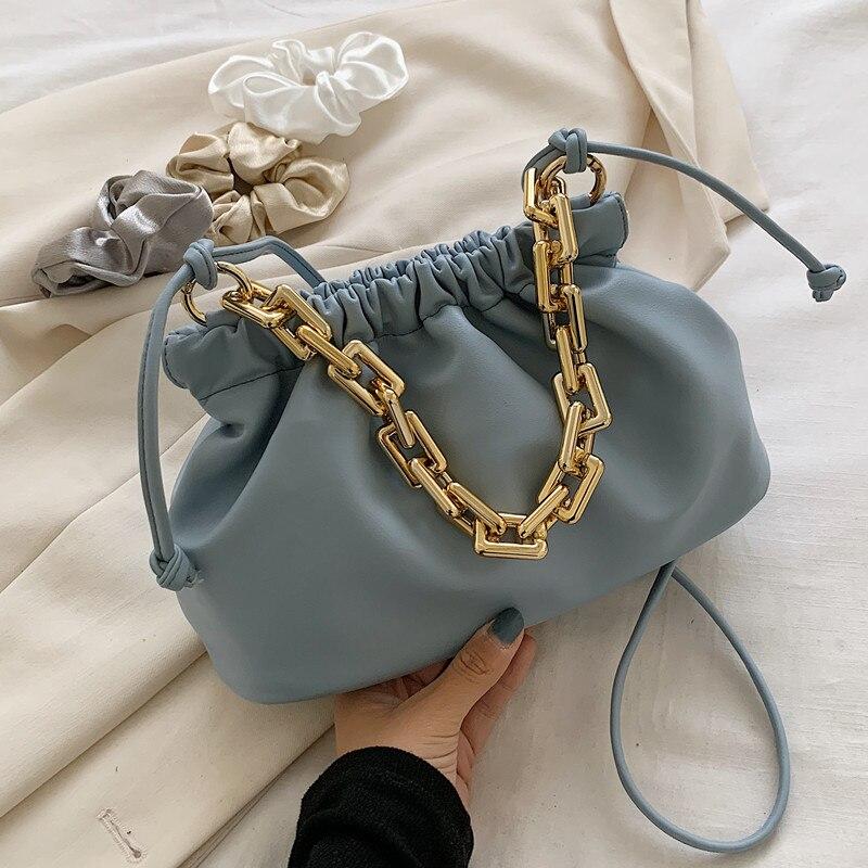 Bolsos de mano con cadenas para mujer, bolsos Vintage 2020, de Color liso tipo bandolera bolso de hombro, bolso de mano y bolso para mujer