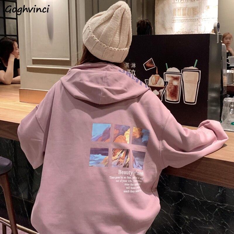 Sudaderas con capucha para mujer, ropa informal suelta fina y suave con estampado, todas las combinaciones, sudaderas de gran tamaño Ulzzang Harajuku para estudiantes de estilo coreano para mujer