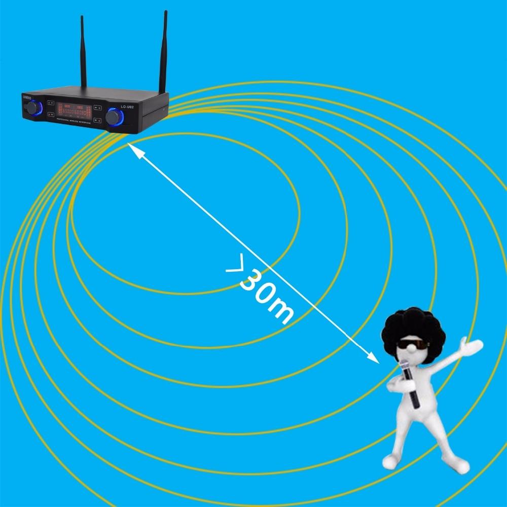 Lomeho LO-U02 2 Handheld UHF Frequencies Dynamic Capsule 2 channels Wireless Microphone for Karaoke System enlarge