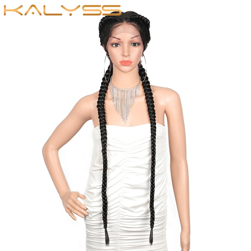 Kalyss 36 Inches  Extra Long 360 Lace Braided Wigs Lace Front Dutch Twins Synthetic Braids Wig for Black Women with Baby Hair