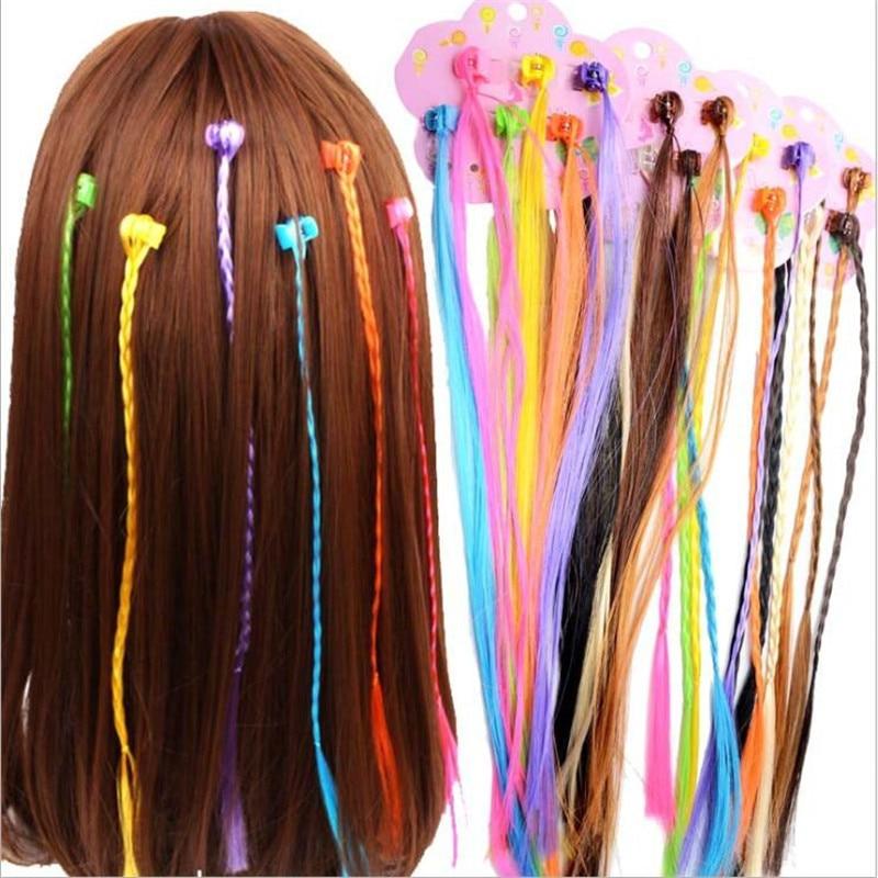 6 unids/lote pelucas de colores para niñas pelo de cola de caballo adorno para el cabello pinzas para el cabello trenzas para cabello accesorios para cabellos de niños