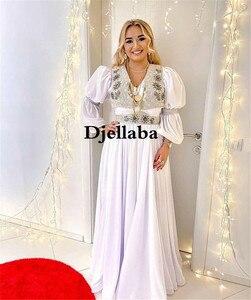 White Arabic Evening Dresses Silver Lace Mermaid Prom Dress robe de soiré Traditional Kosovo vestidos