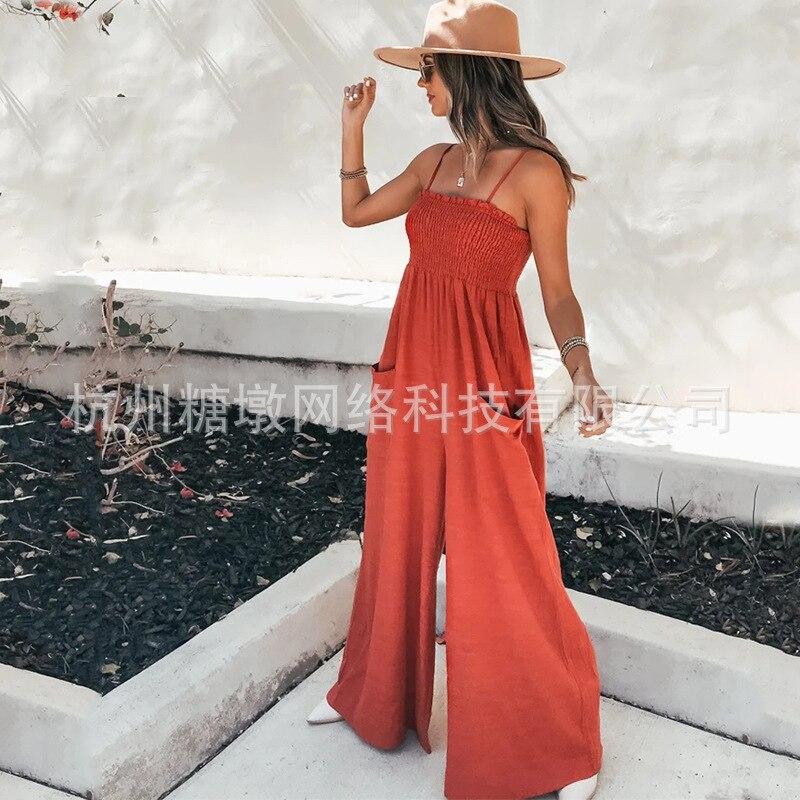 New Summer Women's Clothing Sling Pockets Wide Legs High Waist Vacation JumpsuitsWomen's sling wide leg high waist jumpsuit