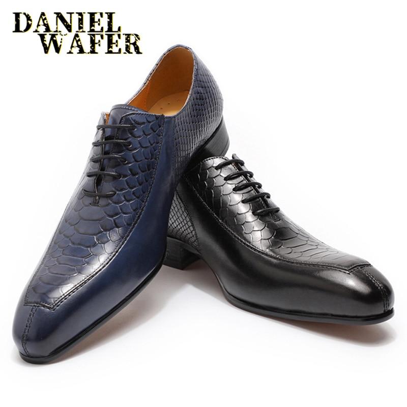حذاء أكسفورد من الجلد بطبعة جلد الثعبان للرجال ، حذاء رسمي برباط أسود وأزرق مع مقدمة مدببة