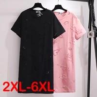 summer plus size women korean ins short sleeved mini dress casual hollow out design t shirt skirt