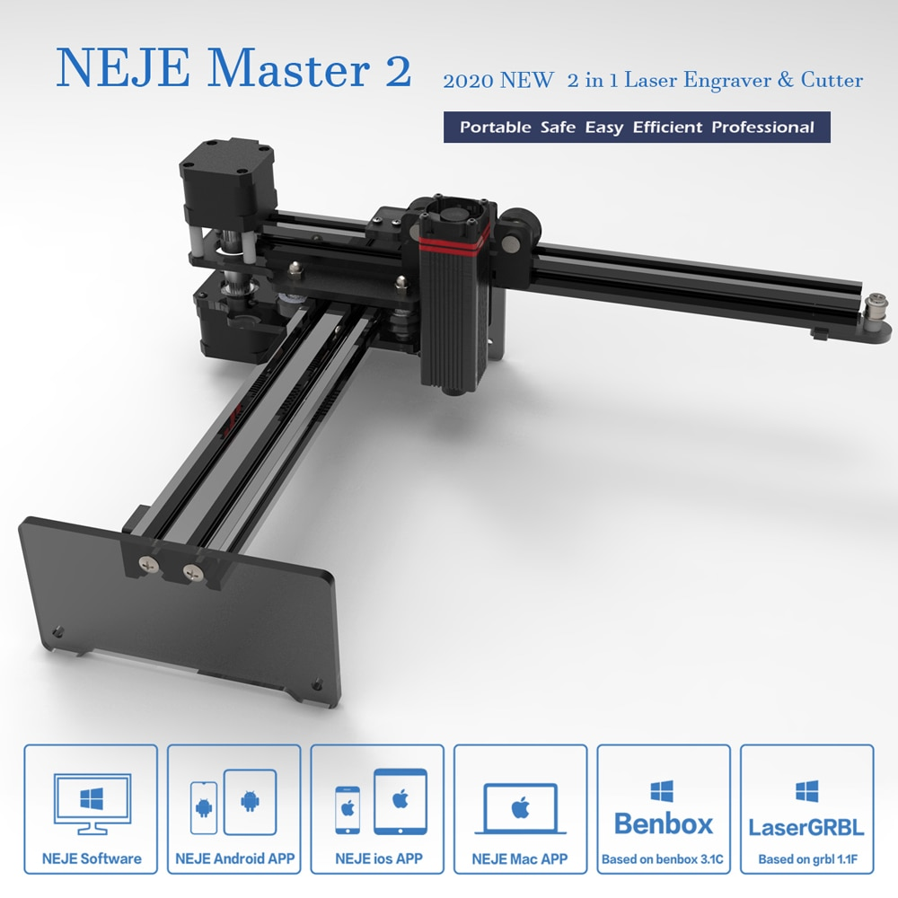 NEJE Master 2 Plus 7W 20W Desktop Laser Engraver Cutter Laser Engraving Cutting Machine Laser Printer Laser CNC Router 17*17cm