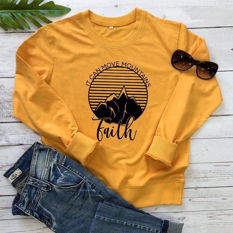 Fe puede mover sudadera con montañas cristiano Jesús creer mujeres ropa Streetwear Inspire manga larga jerseys Dropshipping