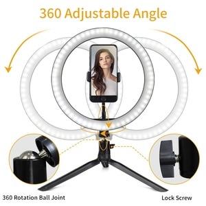 Image 4 - Светодиодный светильник для телефона, кольцевой штатив, профессиональная лампа для фотосъемки на Youtube, с регулируемой яркостью, для фотостудии, для селфи, светодиодный кольцевой светильник, держатель для телефона