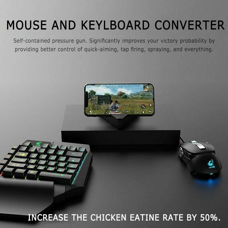 Teclado-ratón-convertidor Bluetooth Gamepad para FPS, pistola de presión móvil para juego, pistola de pulverización para Android iOS Plug and play