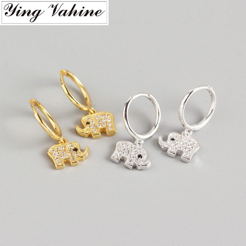 Ying Vahine 100% Plata de Ley 925 encantadores pendientes colgantes pequeños de elefante para mujeres joyería de moda mejores regalos
