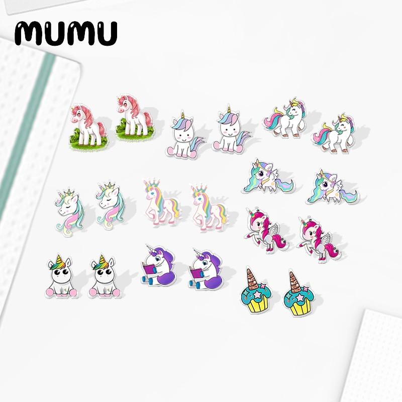 2020 New Cute Unicorn Stud Earring Cartoon Animal Acrylic Earring Handmade Earrings Epoxy Jewelry Fo