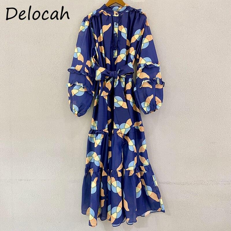 Delocah جديد 2021 الخريف المرأة مصمم أزياء حفلة فستان طويل فانوس كم رائع الكشكشة القوس وشاح فضفاض ألف خط فساتين