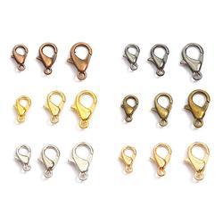 10/12/14/16/18/21mm ródio gun preto metal lagosta fechos ganchos conectores de extremidade para diy colar pulseira jóias fazendo