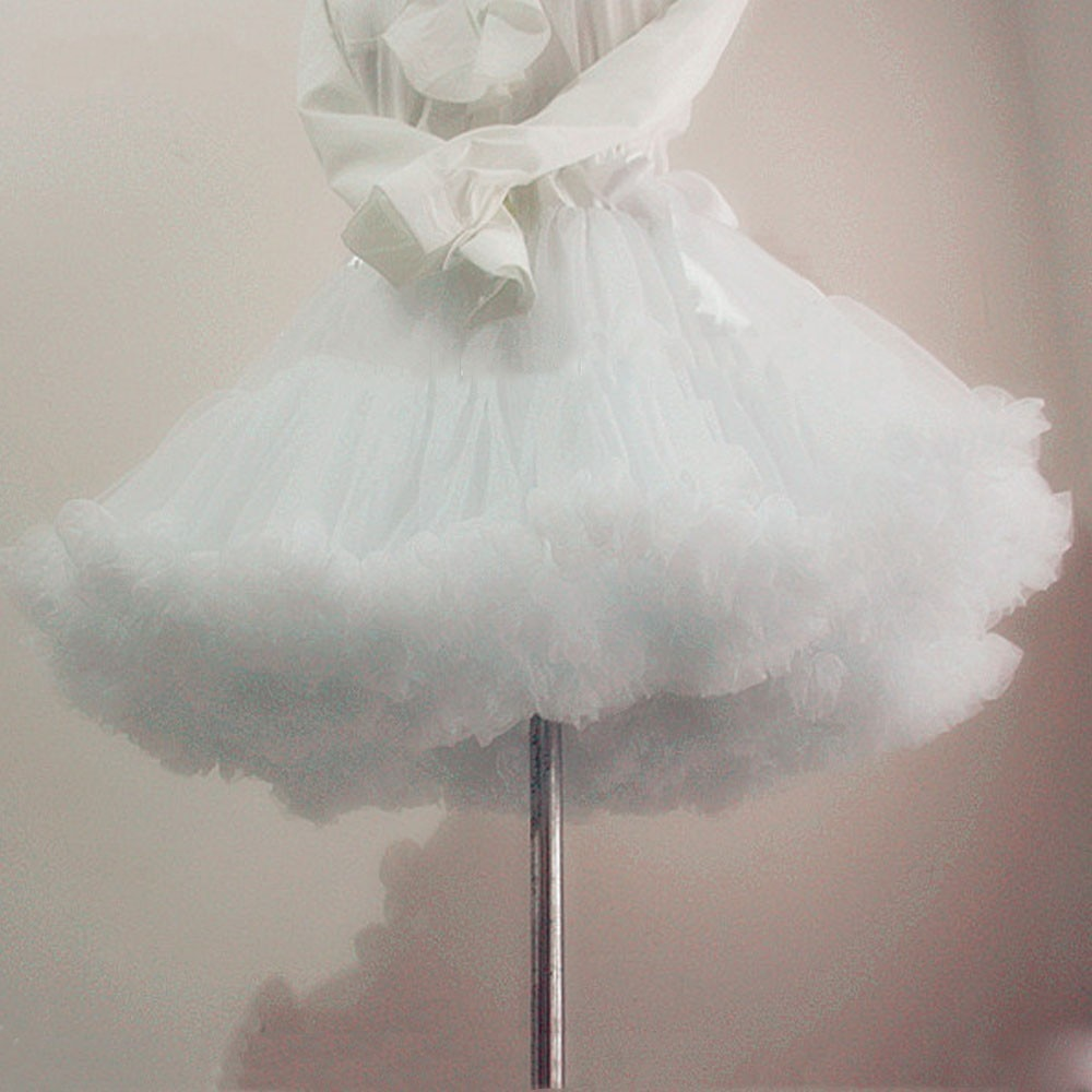 Бяла къса дамска тюл фуста кринолин реколта сватбена булчинска фуста долна пола рокабили пачка