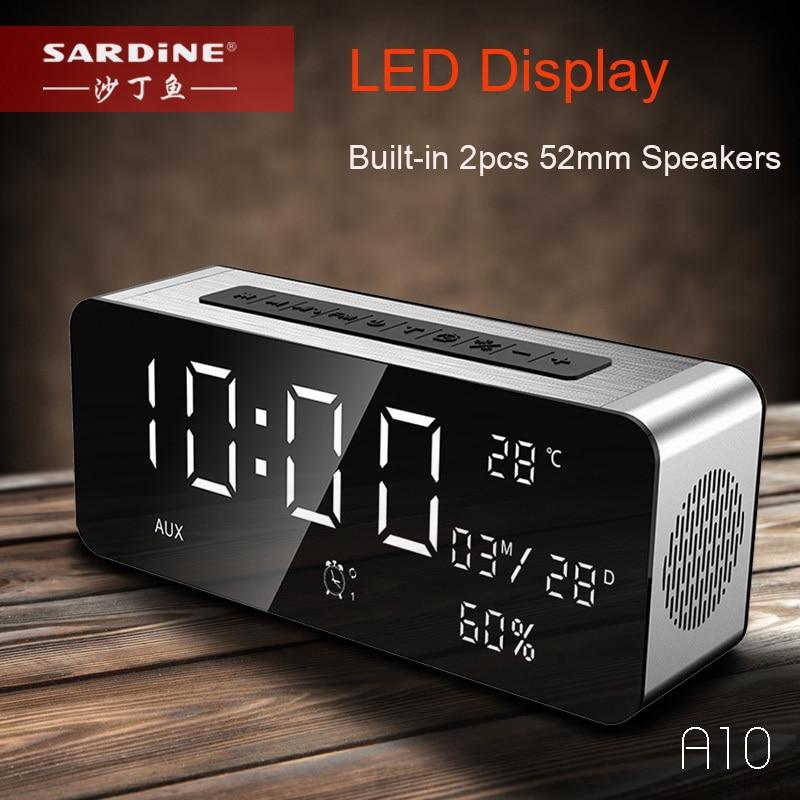 Sardina altavoz inalámbrico bluetooth gran pantalla LED despertador portátil estéreo Subwoofer altavoz AUX TF USB MP3 Radio FM