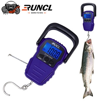 RUNCL 50KG Portable LCD Display Fishing Scale Electronic Balance Digital Handheld Weighing Hanging Hook Scale with 1.5M Tape