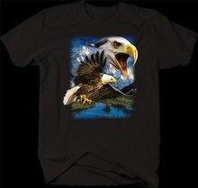 Latający amerykański łysy orzeł nad górami jezioro las przyrody T-Shirt luźny rozmiar Top Ajax zabawna koszulka koszula