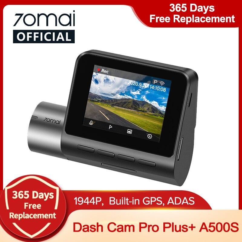 70mai 대쉬 캠 프로 플러스 A500S GPS 70mai 플러스 + 자동차 DVR 1944P 속도 좌표 ADAS 24H 주차 지원 후면 캠