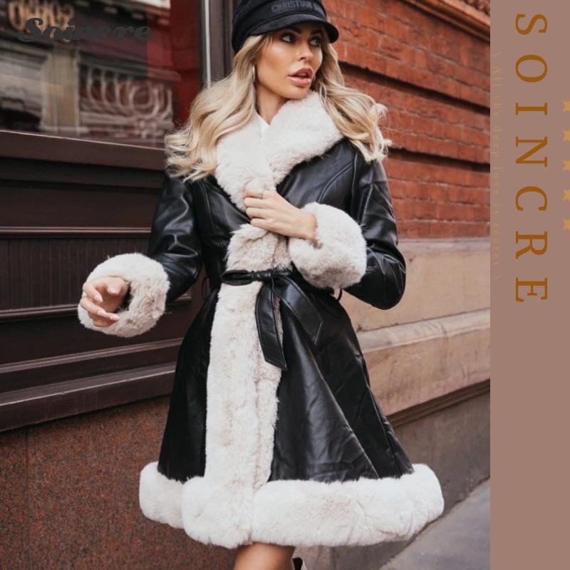 Женские зимние теплые куртки, модные длинные пальто из искусственной кожи с поясом на завязках, женские куртки из искусственного меха, элег...
