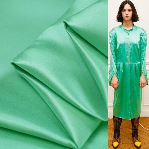 Green color 100% silk doupion satin silk dupioni fabric thick 28momme,SDP050