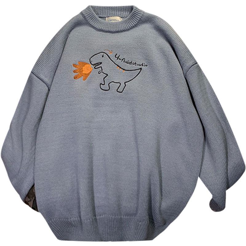 Зимний свитер в гонконгском стиле, мужской Корейский тренд, свободный свитер, студенческий тренд, пуловер с круглым вырезом, свитер, куртка
