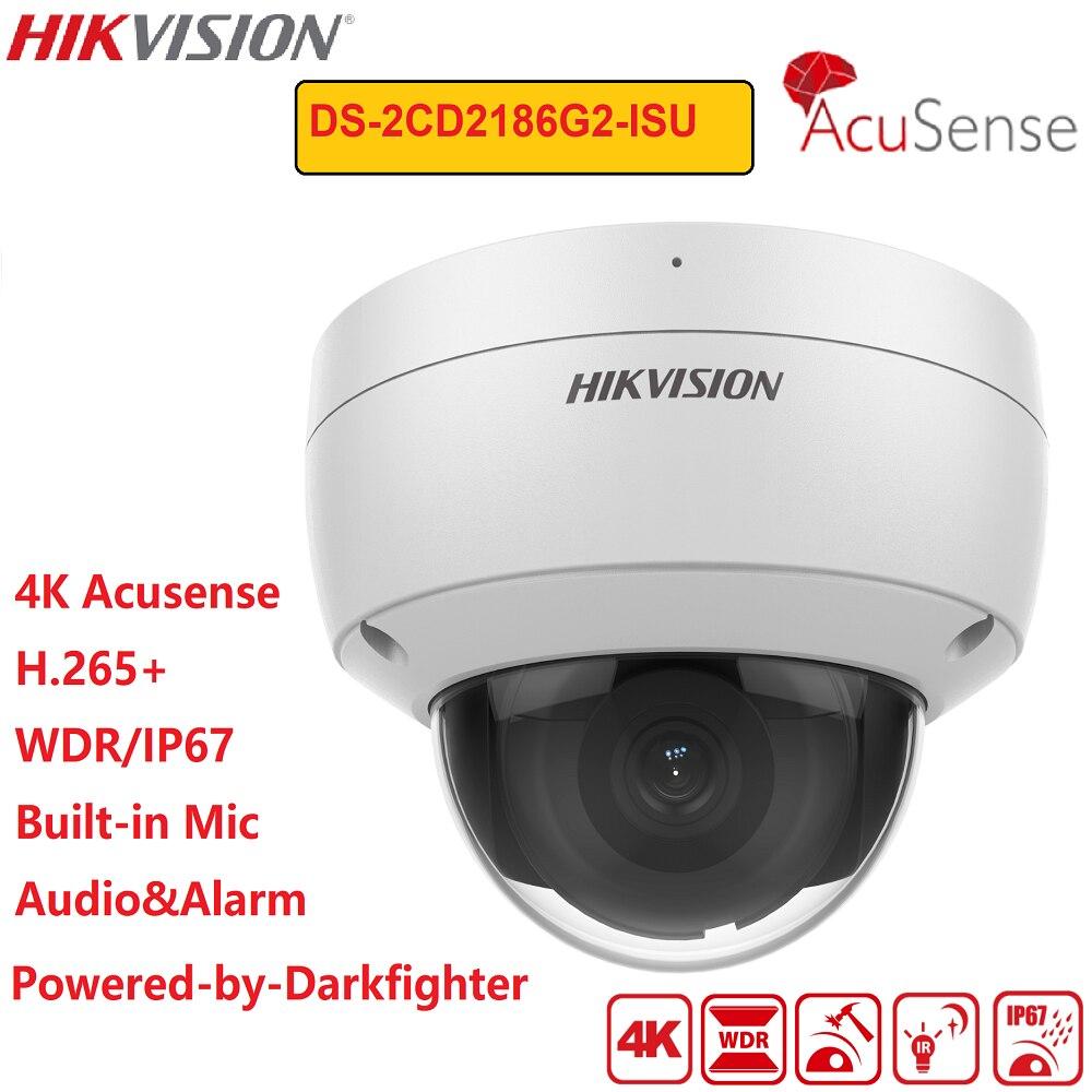 هيكفيجن 4K IP كاميرا DS-2CD2186G2-ISU acusenge 8MP POE IR IP67 شبكة مراقبة ثابتة الموت ميكروفون مدمج CCTV