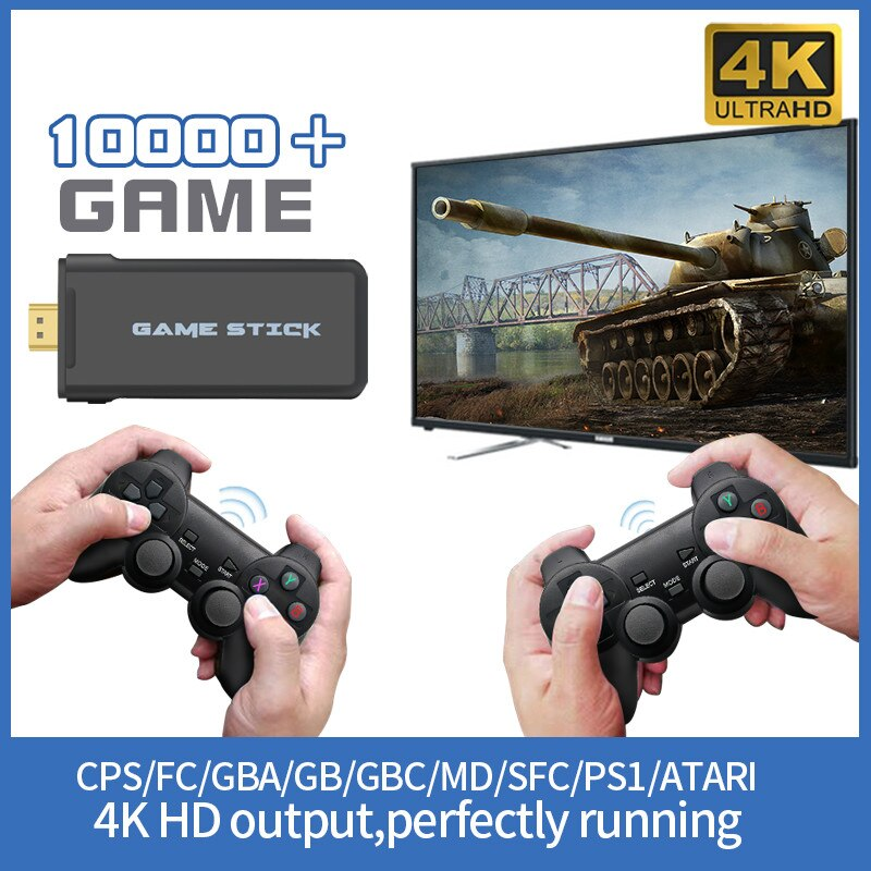 4K HD Video Game Console 2.4G Double Wireless Controller For GBA PS1 Classic Retro TV Game Console Wireless Handheld Game Player