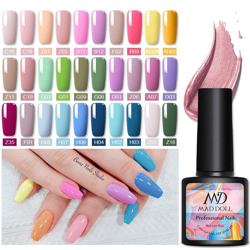 MAD DOLL 1 бутылка 8 мл цветной гель для ногтей Весенняя серия Гель-лак отмачиваемый Светодиодный УФ-Гель-лак для дизайна ногтей Сделай Сам дизайн ногтей