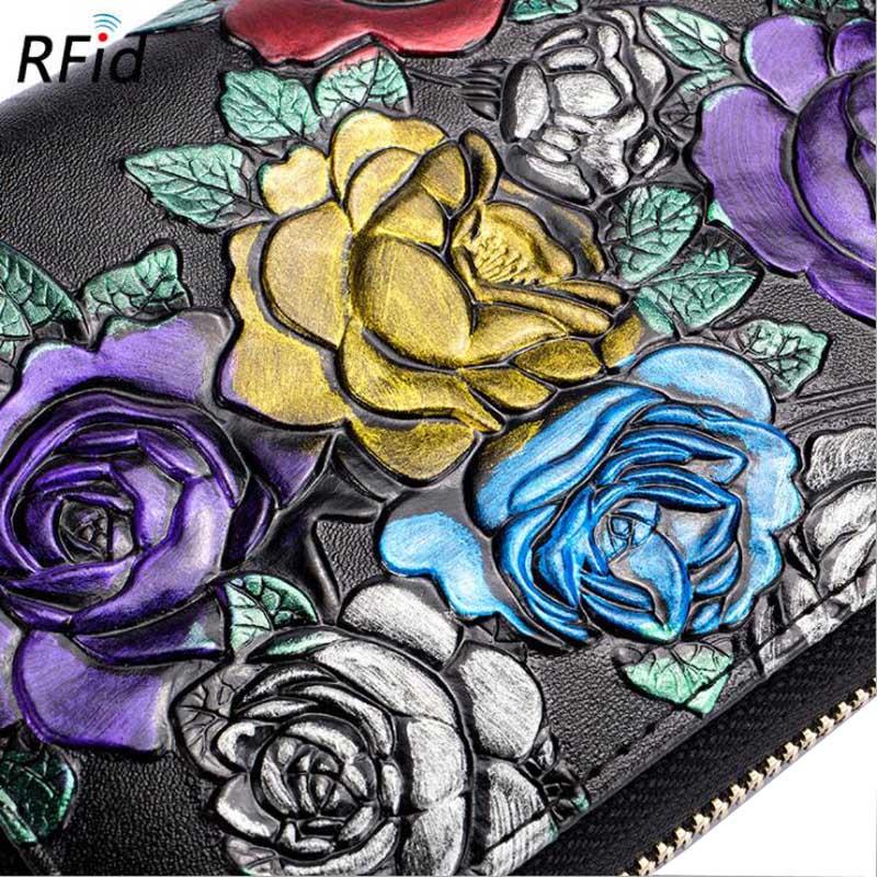 Купить с кэшбэком Western Rfid Large Capacity Double Row Organ Print Design Leather Women Wallet Passport  Driver License Women Coin Purse