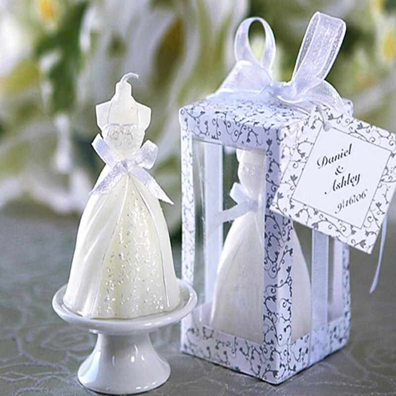 50 قطعة فستان عروس الزفاف شمعة لصالح هدايا الزفاف للضيوف هدايا الزفاف