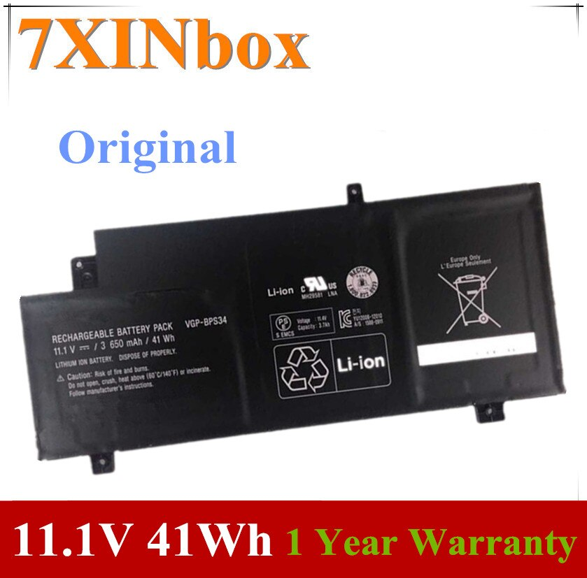 7XINbox 11.1V 3650mAh 41Wh VGP-BPS34 BPS34 بطارية كمبيوتر محمول لسوني VAIO صالح 15 اللمس SVF15A1ACXB SVF15A1ACXS Bateria