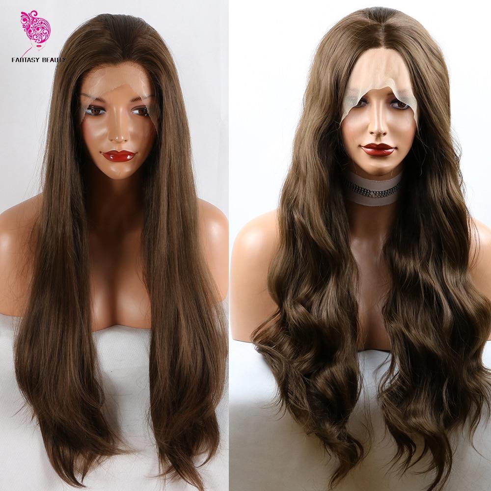 180% плотность синтетический кружевной передний парик натуральный коричневый прямой и волнистый термостойкий кружевной передний парик