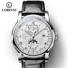 Vintage simple style Automatic Mechanical Switzerland Luxury Brand LOBINNI Watch Men Sapphire Waterproof Mens Clock Male Watch