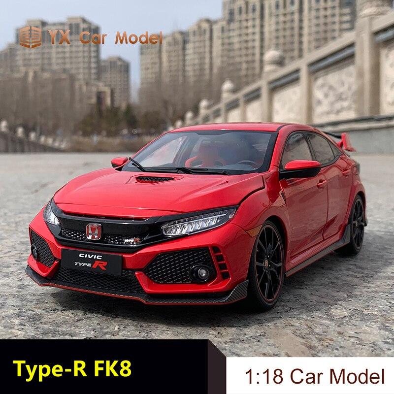 LCD قوالب طراز السيارة هوندا سيفيك H Type-R fk8 1:18 سبيكة محاكاة نموذج سيارة (هدية صغيرة)
