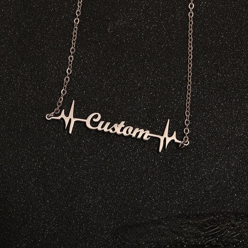 Персонализированные подвески с именной табличкой ЭКГ, ожерелье с именем под заказ из нержавеющей стали под заказ, английская буква